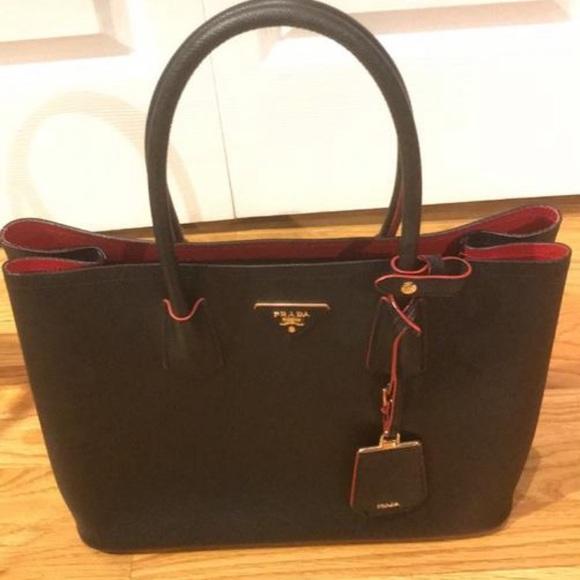b0fad7734a00 Prada Bags | Black Saffiano Leather Tote | Poshmark